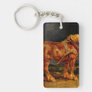 aceite de las pinturas de los caballos llavero rectangular acrílico a una cara