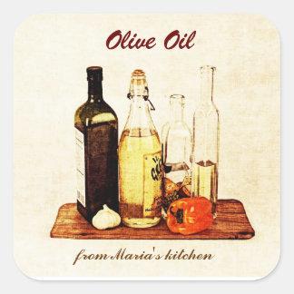 Aceite de oliva - botellas de aceite vegetal con pegatina cuadrada