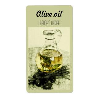 Aceite de oliva y etiqueta de las cebolletas etiquetas de envío