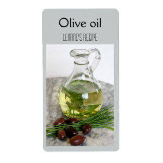 Aceite de oliva y etiqueta de las cebolletas etiqueta de envío
