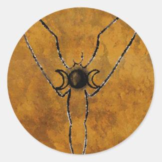 aceite invertido de levantamiento de la diosa pegatina redonda