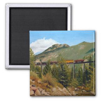 Aceite Paintin del paisaje del ferrocarril de Geor Imán Cuadrado