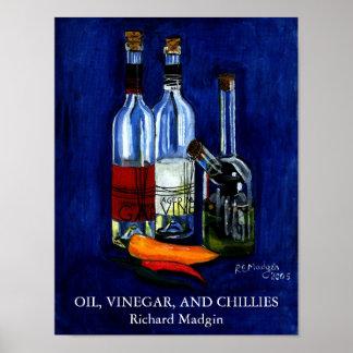 Aceite, vinagre, y chiles póster