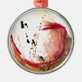 Aceite y agua #42 adorno redondo plateado