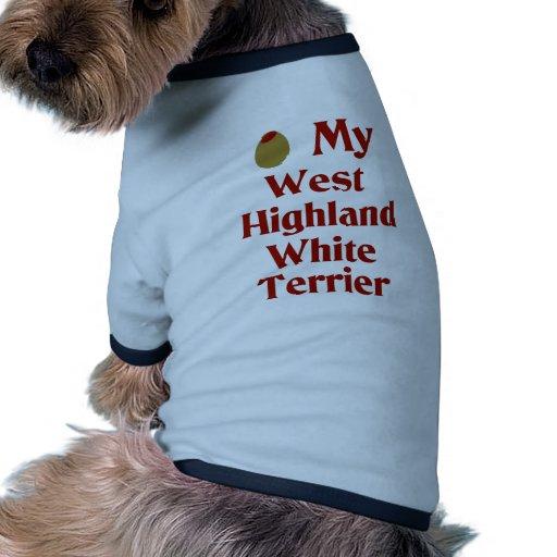 Aceituna (amor de I) mi montaña Terrier blanco del Camiseta Con Mangas Para Perro
