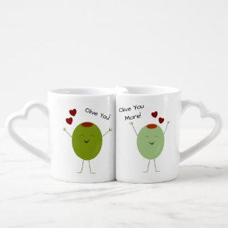 Aceituna del amor personalizado set de tazas de café