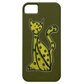 Aceituna el gato verde iPhone 5 carcasas