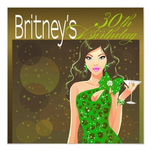 """Aceituna/verde bonitos de señora Birthday Cocktail Invitación 5.25"""" X 5.25"""""""