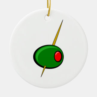 Aceituna verde con el pimiento morrón rojo adorno navideño redondo de cerámica