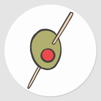 aceituna verde en un toothpick pegatina redonda