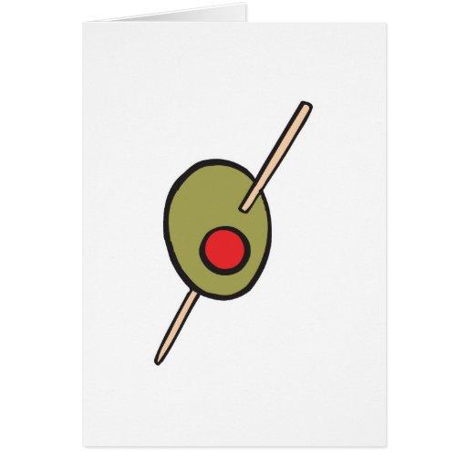 aceituna verde en un toothpick tarjeton