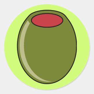 Aceituna verde etiquetas redondas