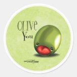 Aceituna verde usted - te amo pegatinas etiquetas redondas