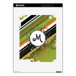 Aceituna y rayas Moderno-Retras anaranjadas con el Calcomanías Para El iPad 2