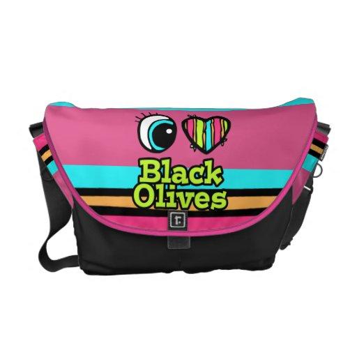 Aceitunas negras del ojo del amor brillante del co bolsas de mensajería