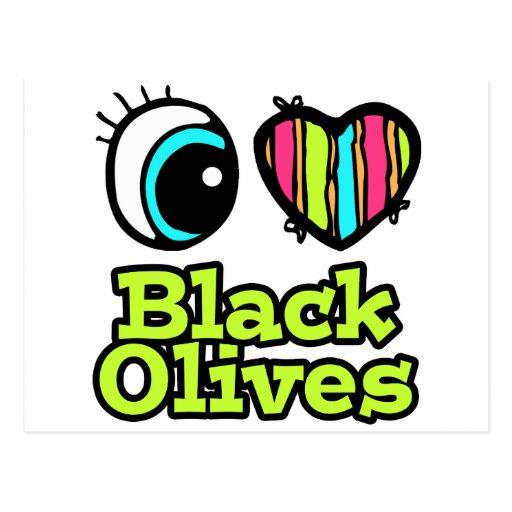 Aceitunas negras del ojo del amor brillante del co postal