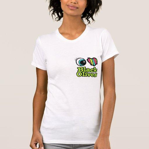Aceitunas negras del ojo del amor brillante del camisetas