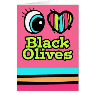 Aceitunas negras del ojo del amor brillante del tarjeta de felicitación