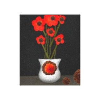 Acémila roja floral impresión en lienzo