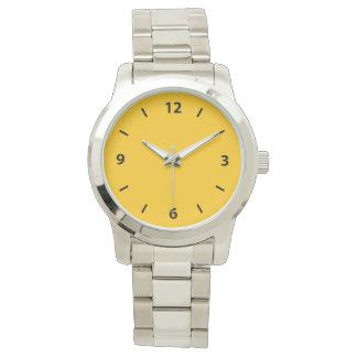 Acento ambarino amarillo de oro del color relojes de pulsera