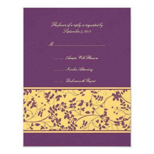 """Acento floral amarillo y púrpura que casa RSVP Invitación 4.25"""" X 5.5"""""""