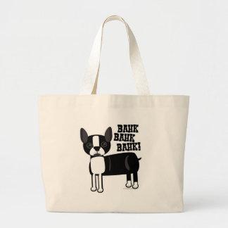 Acento lindo Boston Terrier Bolsa Tela Grande