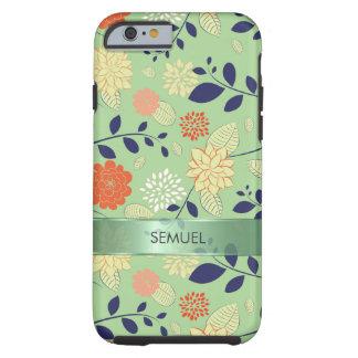 Acento metálico retro del diseño floral de funda de iPhone 6 tough