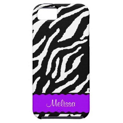 Acento púrpura con la impresión blanca y negra del funda para iPhone SE/5/5s