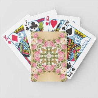 Acentos de oro de los rosas pasados de moda barajas de cartas