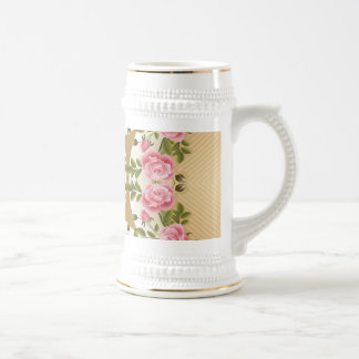 Acentos de oro de los rosas pasados de moda tazas de café