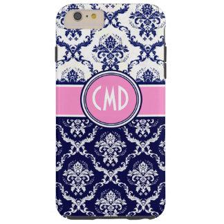 Acentos florales azules y blancos del rosa del funda de iPhone 6 plus tough