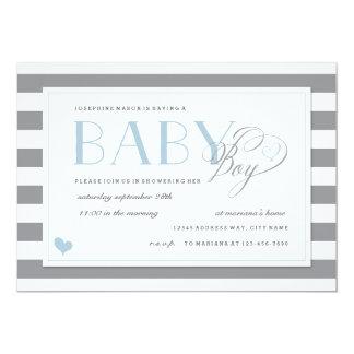 Acentos grises y blancos del azul de la ducha del invitación 12,7 x 17,8 cm