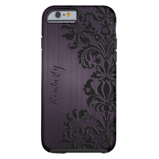 Acentos negros púrpuras metálicos del cordón de funda de iPhone 6 tough