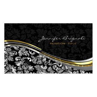 Acentos negros y de plata elegantes del oro de los tarjetas de visita