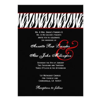 Acentos rojos de la cebra blanca negra que casan Z Comunicado Personalizado