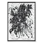 ACEO 4x5 Print Original Artwork. Flower Zentangle. Art Photo