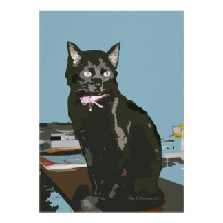 ACEO Abstract Black Cat 2 Art Print