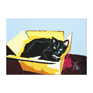 ACEO Abstract Black Cat 7 Canvas Print