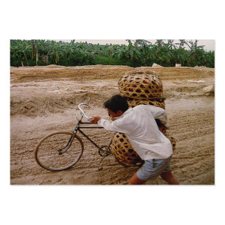 ACEO ATC Cyclist pushes bike through mud in china Business Card Templates