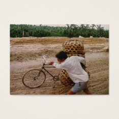 Aceo Atc Cyclist Pushes Bike Through Mud In China Business Card at Zazzle