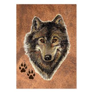 ACEO ATC Original Watercolor Grey Wolf Business Card Template