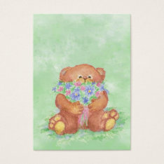 Aceo Atc Teddy Bear Bouquet Flower  Watercolor Business Card at Zazzle