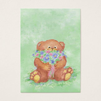 ACEO ATC Teddy Bear Bouquet Flower  Watercolor Business Card