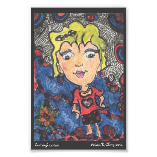 ACEO Cartoon Gal w/ ink & watercolors Photo Print