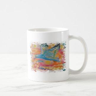 Aceo de la acuarela del vuelo del pájaro impreso taza clásica