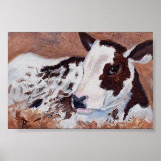 Aceo de la vaca del bebé póster