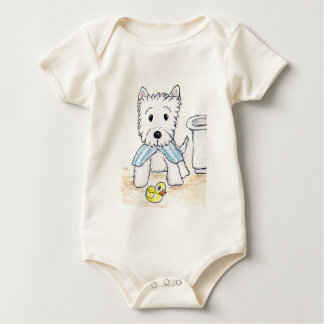 ACEO PRINT WESTIE BATHTIME ORIGIANL BABY BODYSUIT