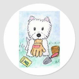 ACEO PRINT westie gardening lighter darkened Classic Round Sticker