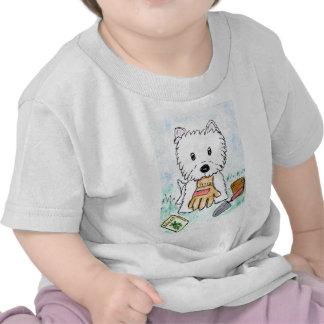 ACEO PRINT westie gardening lighter darkened Shirt