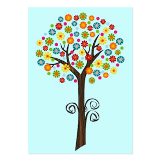 ACEO RETRO FLOWER TREE TRADING CARDS